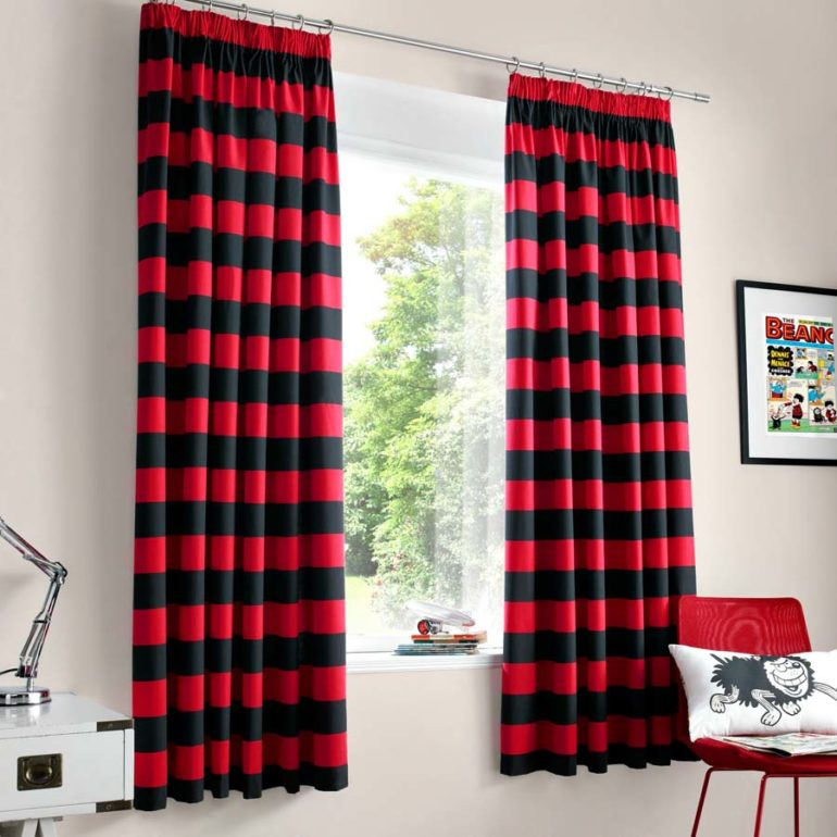 Red and grey curtains