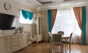 Бирюзовые шторы в дизайне интерьера кухни, спальни, гостиной