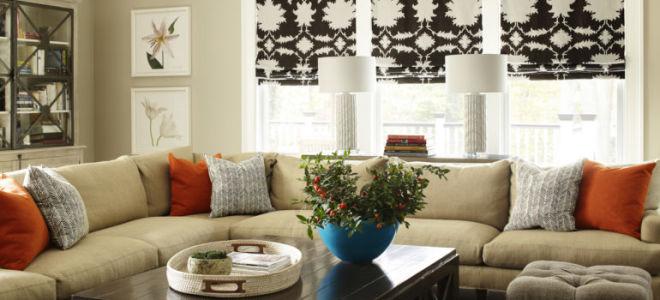 Римские шторы в интерьере гостиной: дизайнерские советы и яркие фото