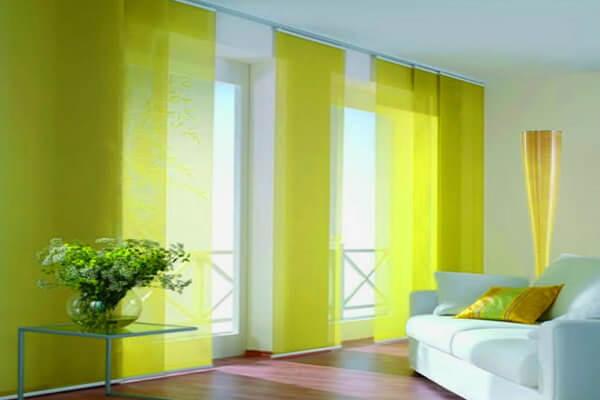 лимонные шторы