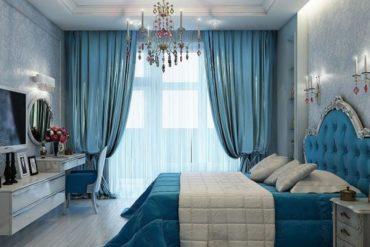 Люстра в голубой спальне