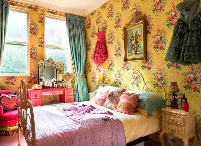винтажные шторы в комнате девочки