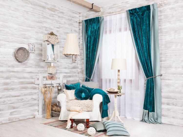 Бирюзовые бархатные шторы