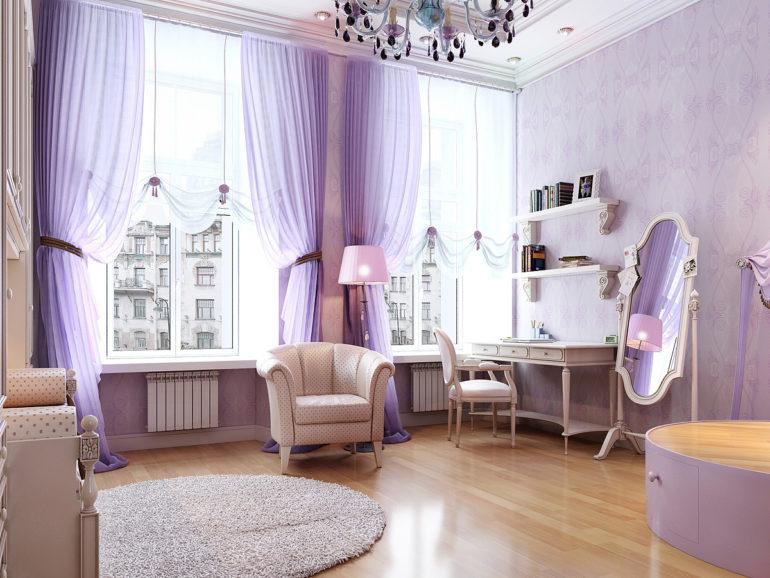 сиреневые шторы для подростка девочки