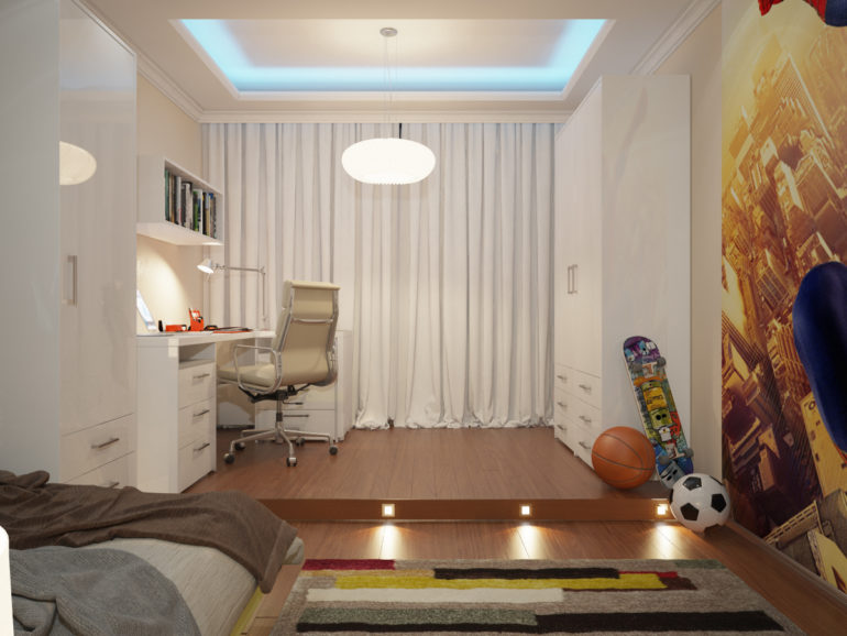 Белые портьеры в спальне подростка