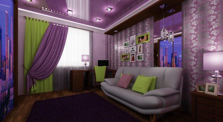 Сочетание зеленого и фиолетового приносят интерьеру игру цвета