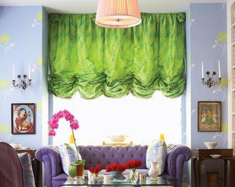 Французские шторы травянистого цвета
