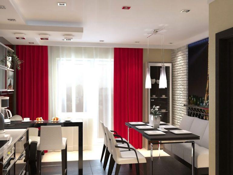 Красные портьеры как яркий акцент в черно-белой кухне