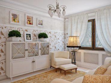 Льняные шторы в гостиной прованса