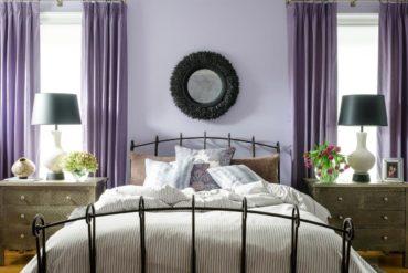 Шторы фиалкового цвета для спальни