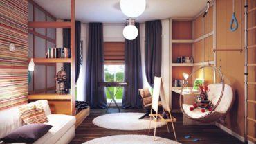 Сочетание синих и коричневых штор