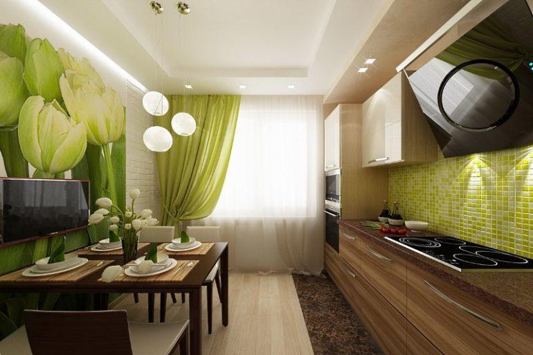 Сочетание зеленых штор с белым тюлем в интерьере кухни