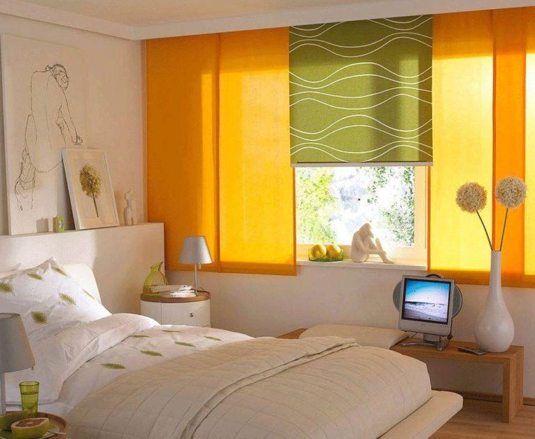 Желтые и оливковые оттенки согреют северную спальню свои теплом