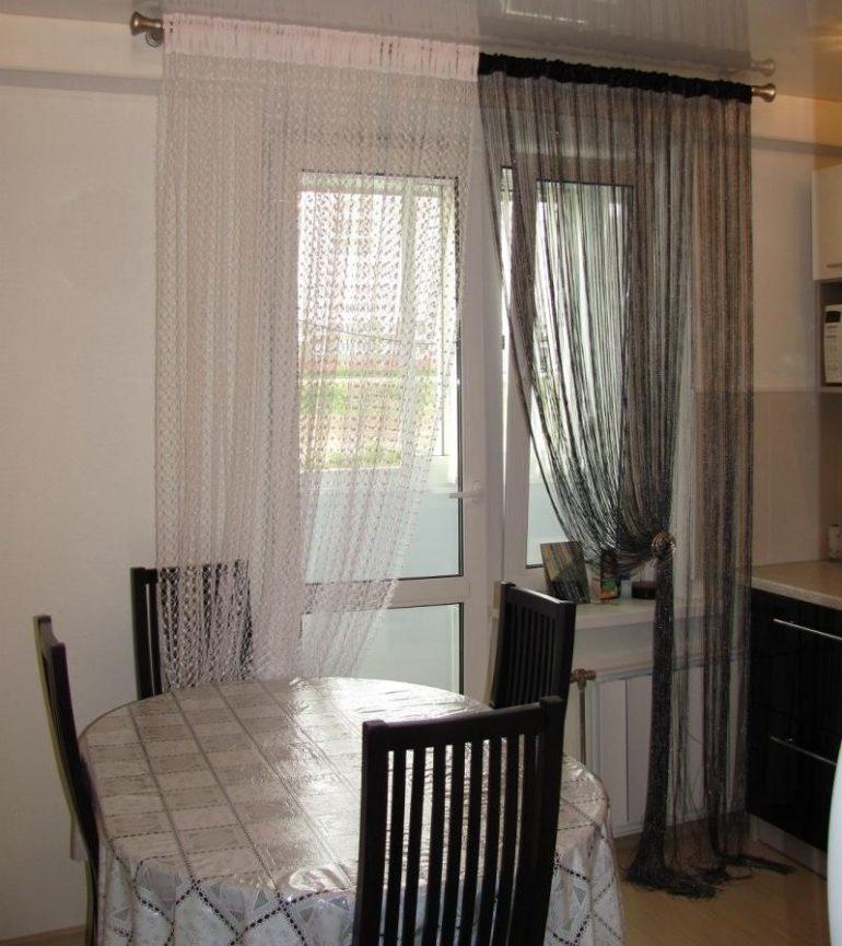 Нитяные шторы (75 фото): нитевые занавески в интерьере кухни.