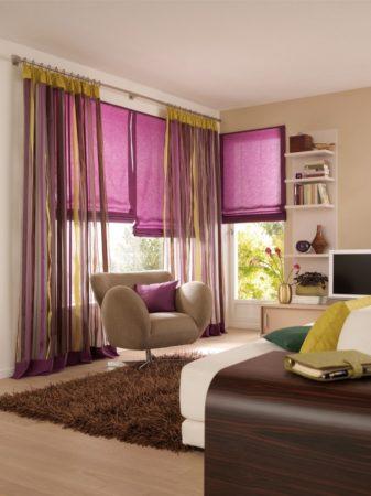 лиловые римские шторы