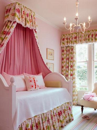 цветочный навес для кровати девочки