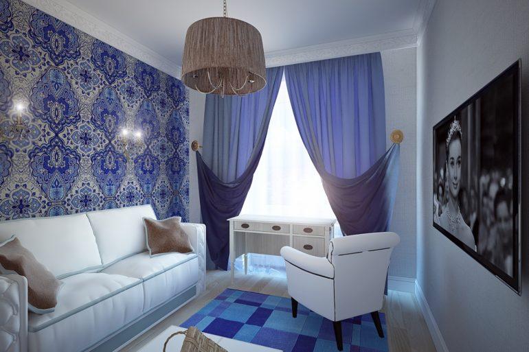 Для маленькой гостиной рационально использование светлых цветов как для стен и мебели, так и для штор