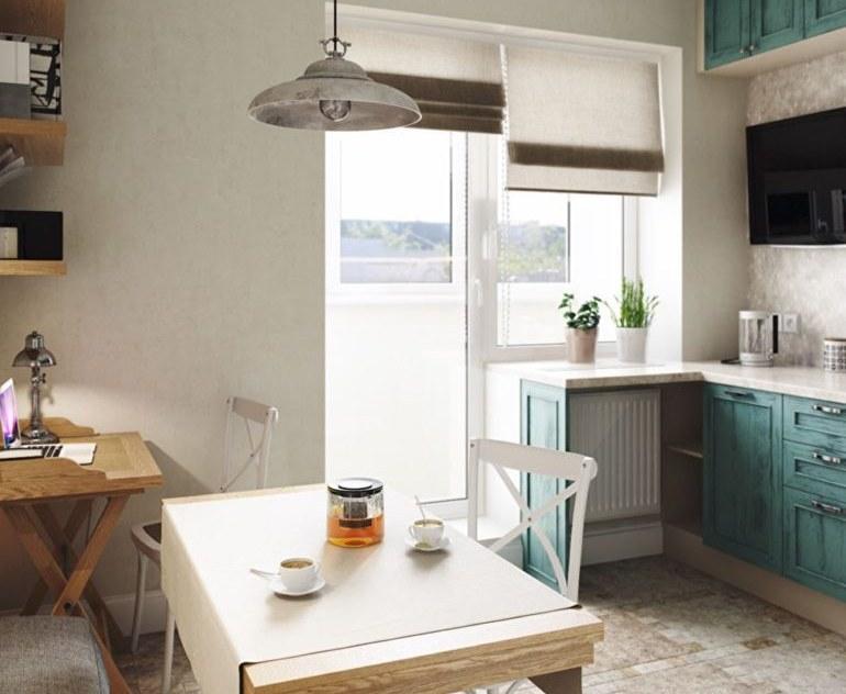 Когда на кухне есть балконная дверь совмещенная с окном, то римские шторы это очень практичный вариант декора
