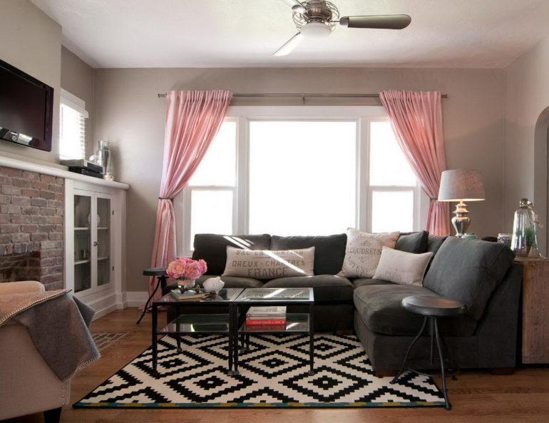 Теплые оттенки розового в шторах придадут равнодушному скандинавскому стилю большей романтики и уюта