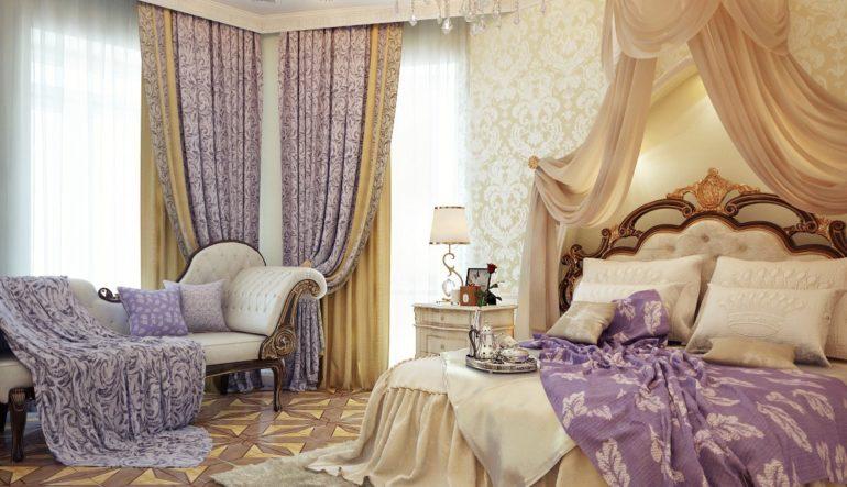 Выигрышное сочетание сиреневых тканей с золотыми придает спальне ощущение волшебства и располагает к спокойному мечтающему настроению