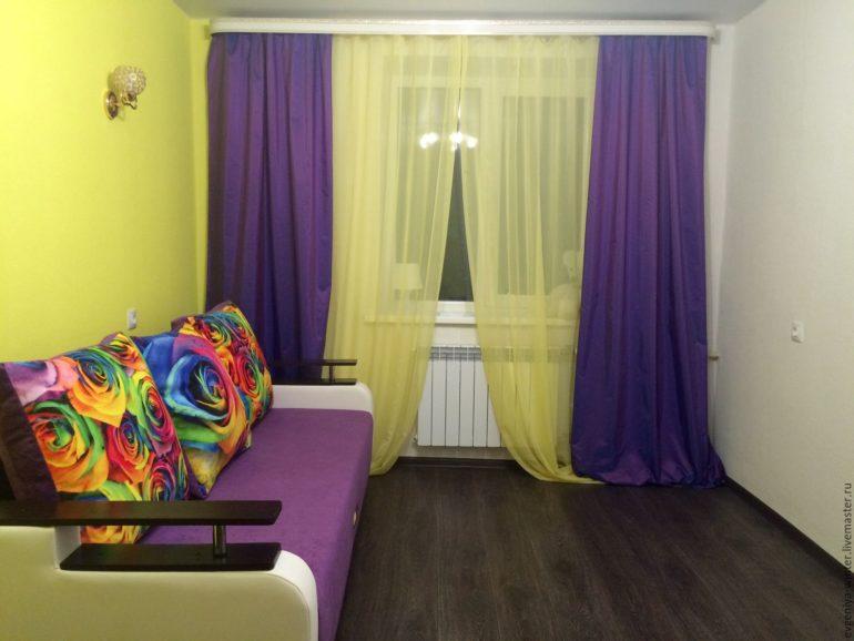 Шторы с фиолетовыми цветами