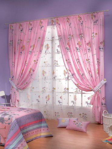 подхваты на розовых шторах