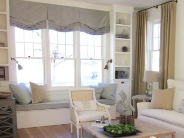 серые шторы до подоконника