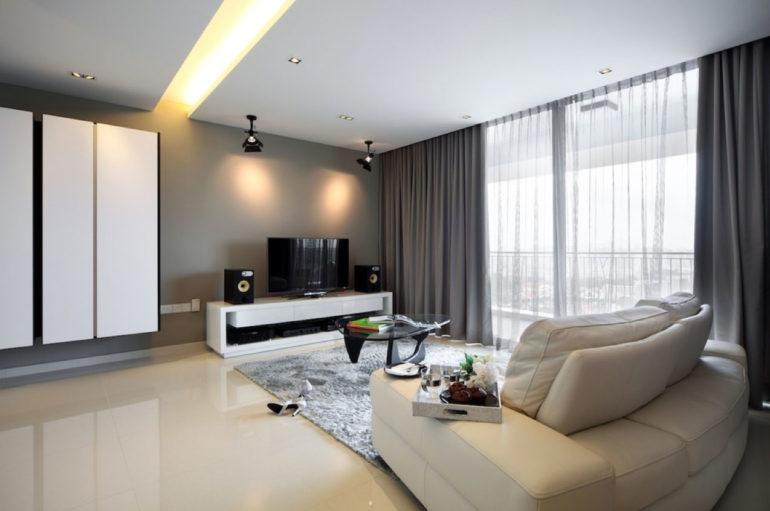 На данном фото показано как шторы должны соответствовать цветовой палитре интерьера - дизайнеры сделали их немного темнее стен, чтобы портьеры послужили четким ограничением площади