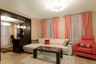 зонированый кабинет в гостиной