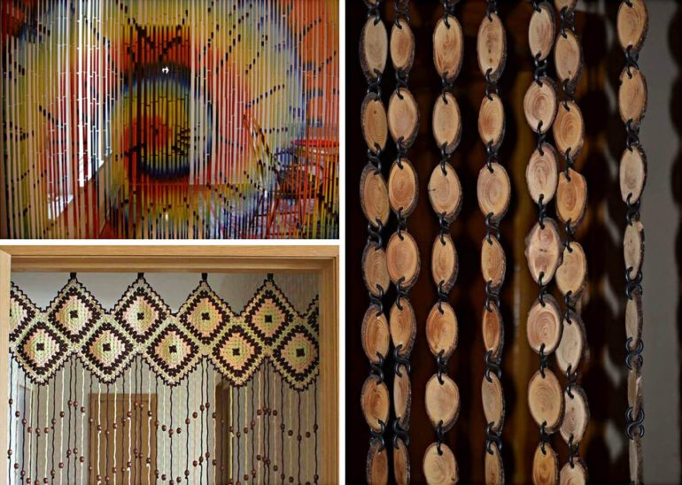 Шторы в виде деревянных висюлек остаются популярными во все времена