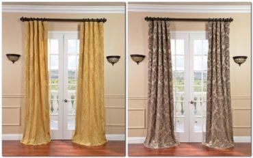 двойное фото коллаж коричневые и золотые шторы