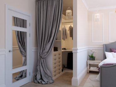 серая кровать и штора в гардеробной
