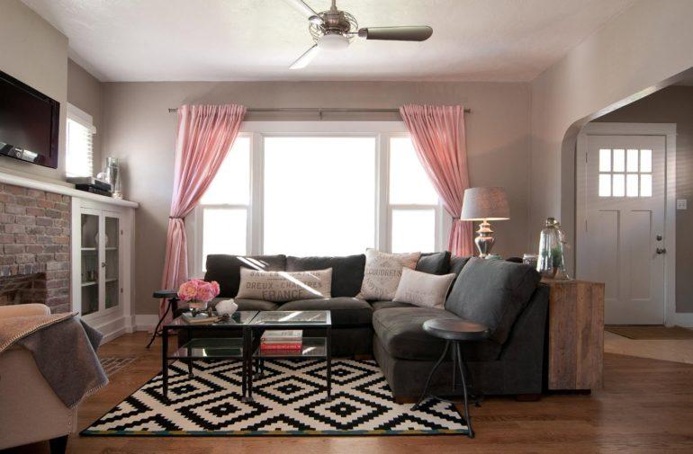 скандинавская гостиная с вентилятором в потолке