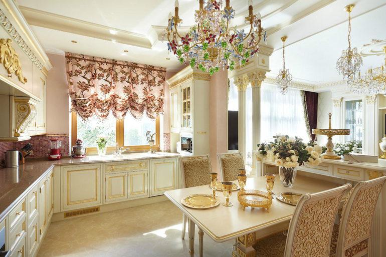 Австрийские шторы с подъемным механизмом без проблем можно повесить на окно возле стола или мойки