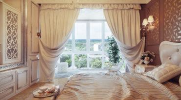 Кожанная обивка на спинке кровати