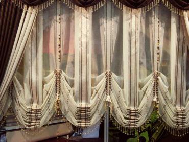 стеклянные бусинки по краю занавески