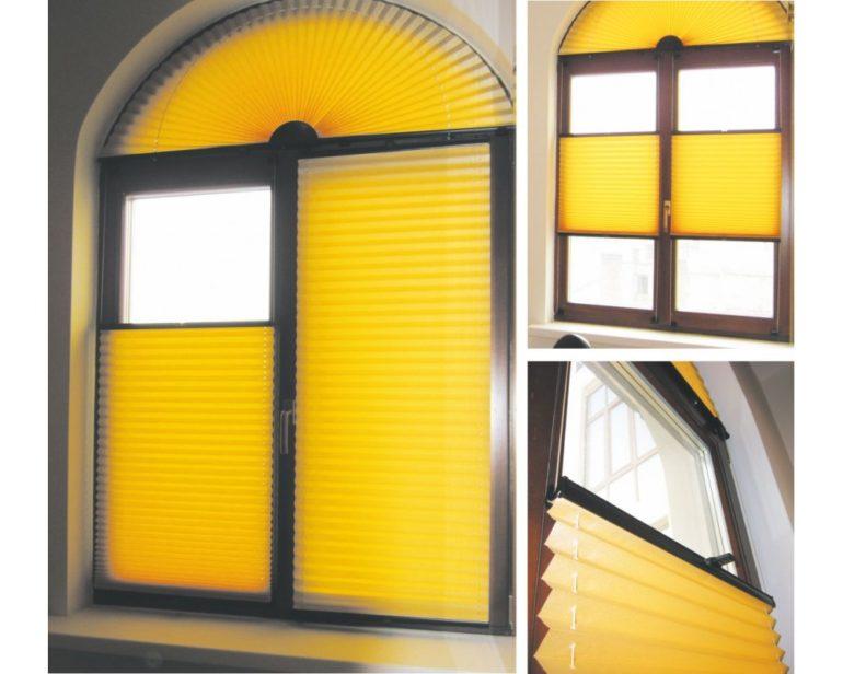Веерообразная плиссировка украсит окна нестандартной формы