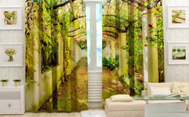 Рисунок на шторах в перспективе способен визуально увеличить комнату