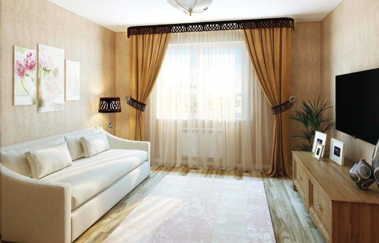 Мягкий софт в шторах украсит гостиную в нежных пастельных тонах