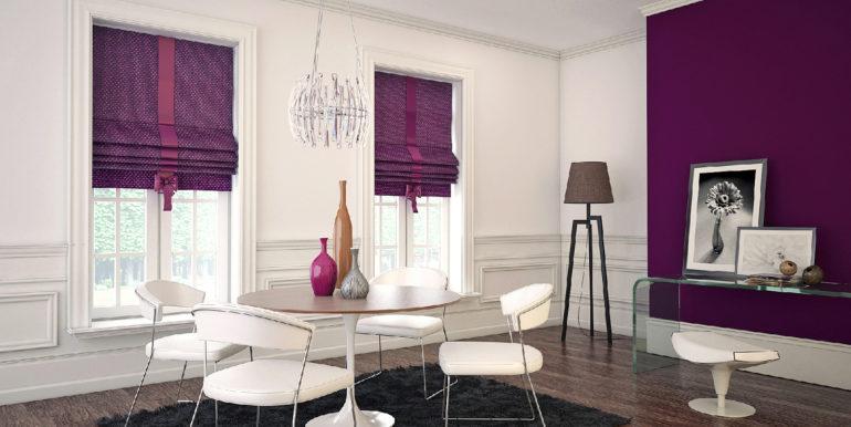 На фото римские шторы в гостиной выступают ярким акцентом на фоне белых стен