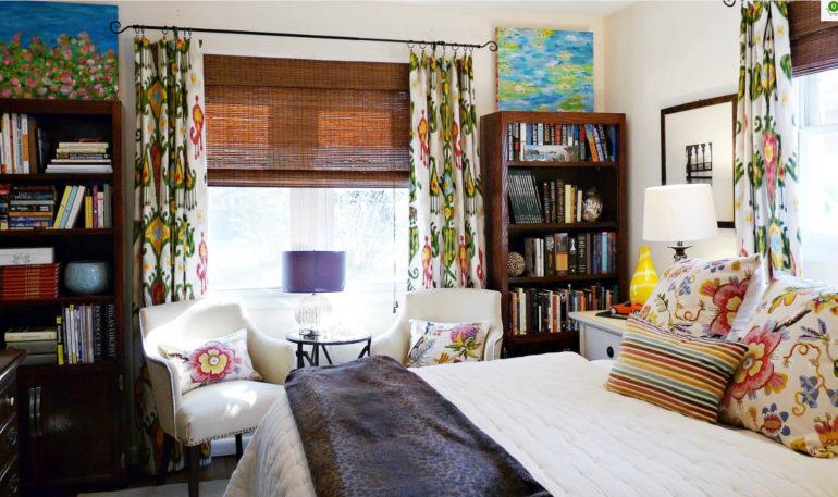 Натуральные ролеты могут использоваться в сочетании с классическими шторами