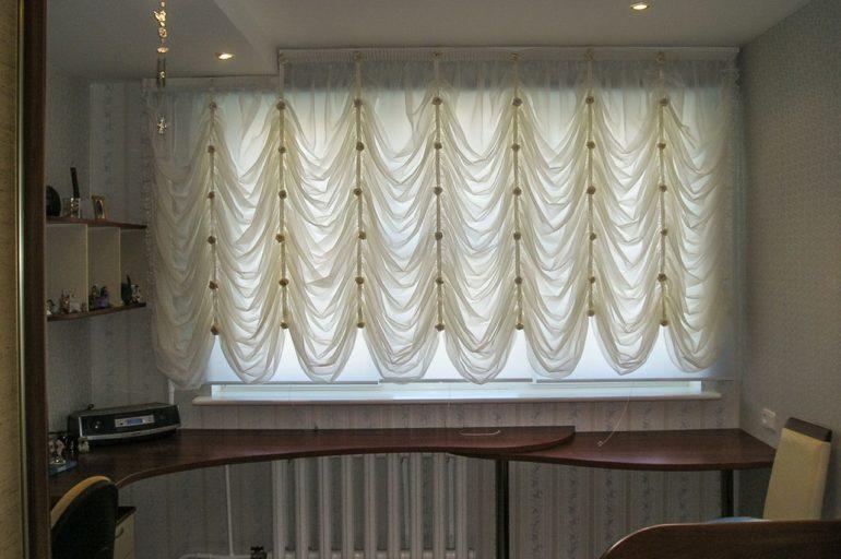 Вуалевые французские шторы могут использоваться в качестве тюля