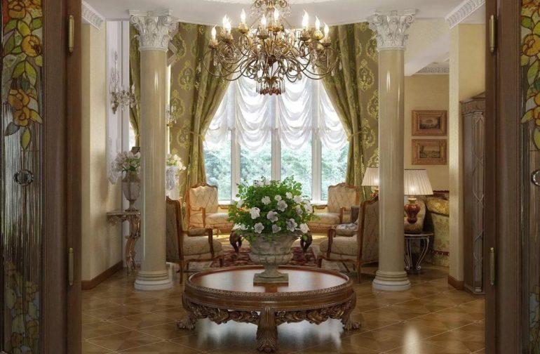 Французские шторы по праву заслуживают место в богатом интерьере с роскошным декором