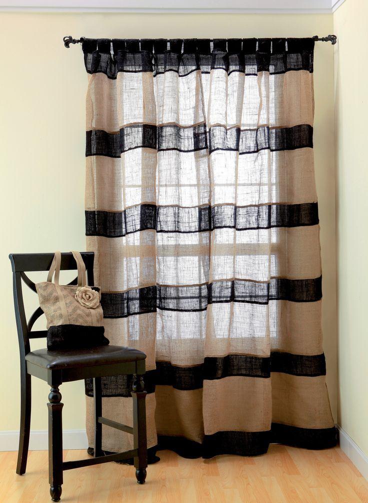 Мешковина плетеная из тонких нитей может быть легким тюлем на ваших окнах