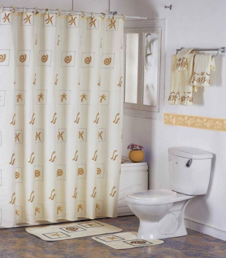 Так выглядят традиционные тканевые шторы для ванной