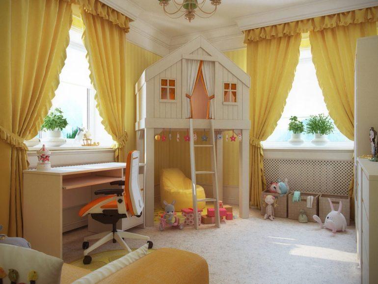 Желтые шторы с ламбрекеном