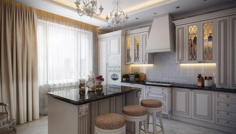 классический стиль штор для кухни